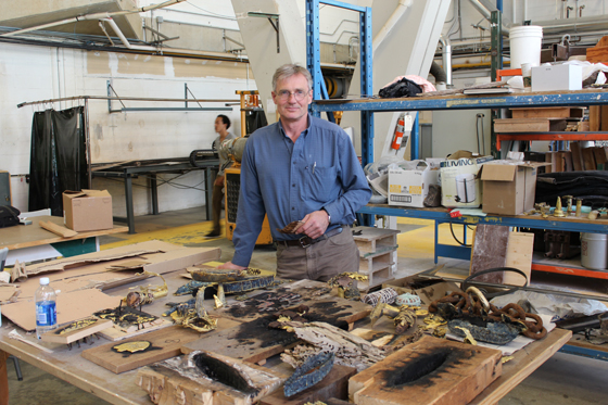 Peter von Tiesenhausen with a collection of works he started in the solar foundry and will continue to develop in the residency, alongside other projects.
