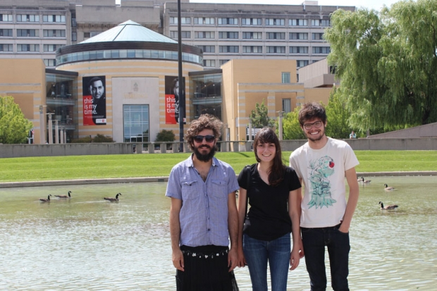 Three of the five Brazilian students studying in Fine Arts, left to right: Bernardo Batista, Heloá Pizzi Mauro and Alexandre Leopoldino