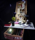 Easel containing some of the props and art objects