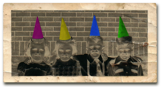 negative b/w photo of a row of children wearing coloured party hats