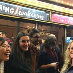 Professor Gwen Dobie with students and faculty outside the Deaf West Theatre in New York City