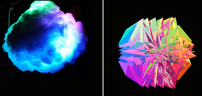 Two brightly coloured objects, one a 3D piece in a fluffy cloud formation, the other a geometrically-shaped projection