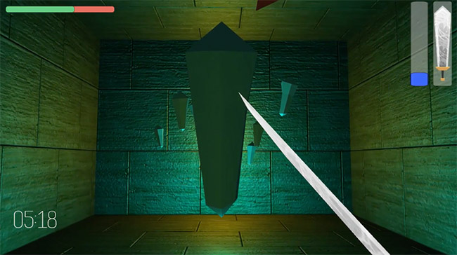"Screenshot from a game called 'Above and Below"" showing a first-person view holding a sword"