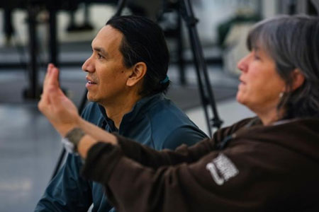 photo of Michael Greyeyes and Yvette Nolan during rehearsal