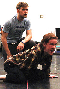 two young men rehearsing a scene in Brebeuf's Ghost