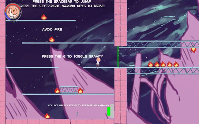 Scene from a game showing the main character standing on a platform in space.