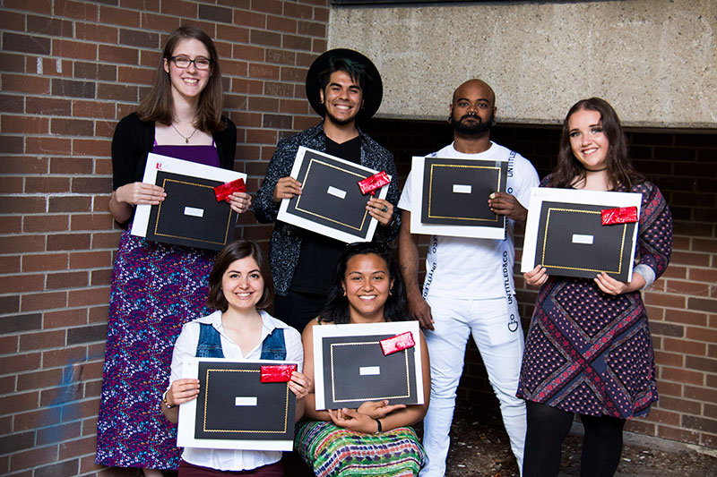 The six recipients of the Winters College awards and book prizes