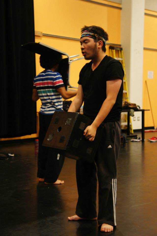 Photo of Aaron Jan in Devised Theatre class 2013. Photo by: Emily Boyle