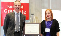 Faculty of Graduate Studies Dean Tom Loebel and Professor Laura Levin