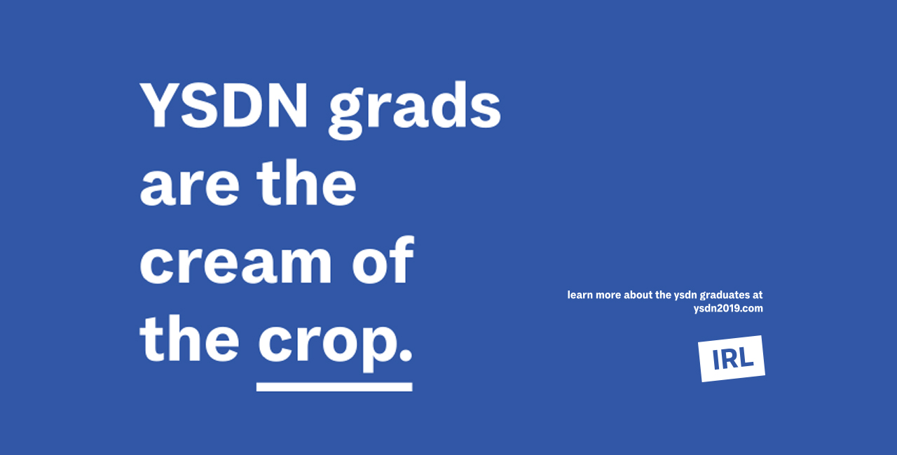 YSDN grads are the cream of the crop. White text on a blue background.