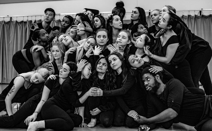 A black and white photo of the artists of York Dances 2019