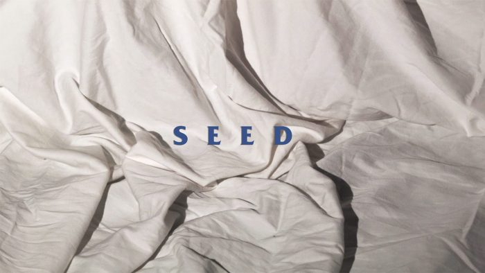 SEED opening title sequence frame of the title in blue over bedsheets
