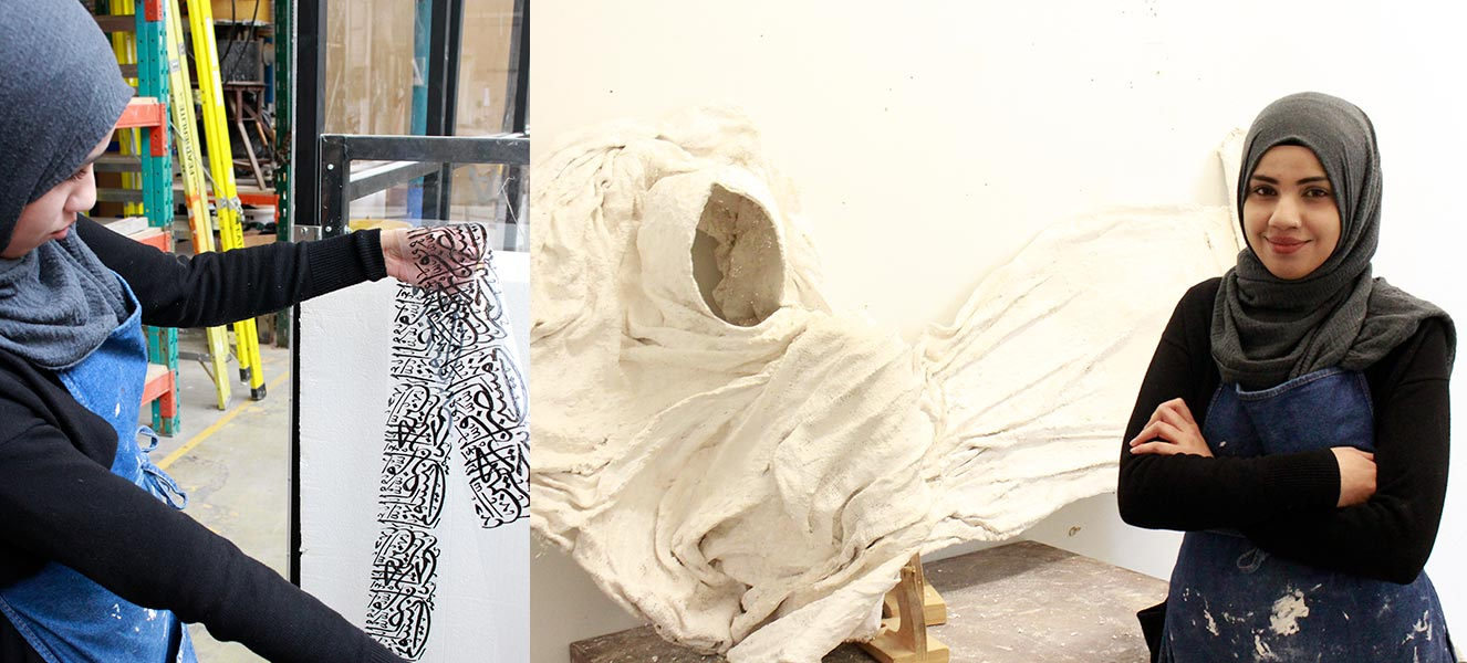 A visual art student shows off her large piece made from plaster