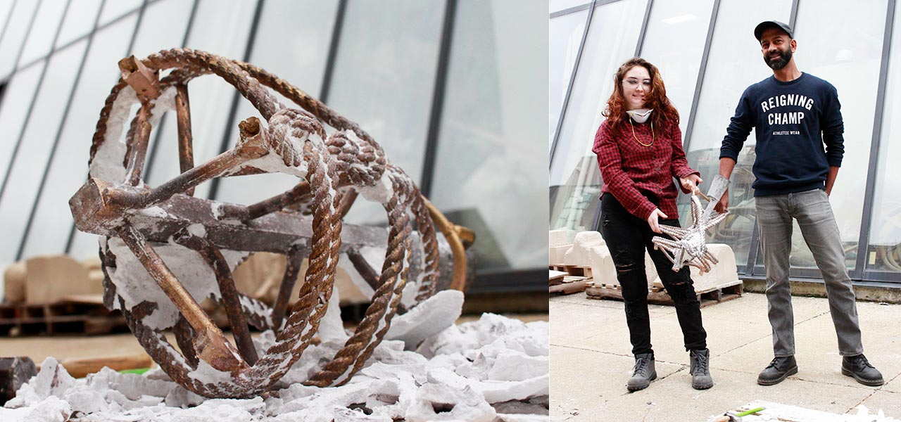 A visual art student shows off her art piece made of hardened rope