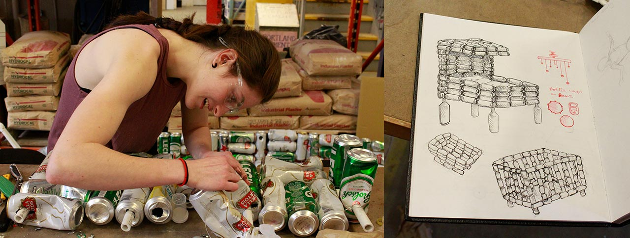 Visual arts student working on a project made from drink cans, with a sketch of her work on the right