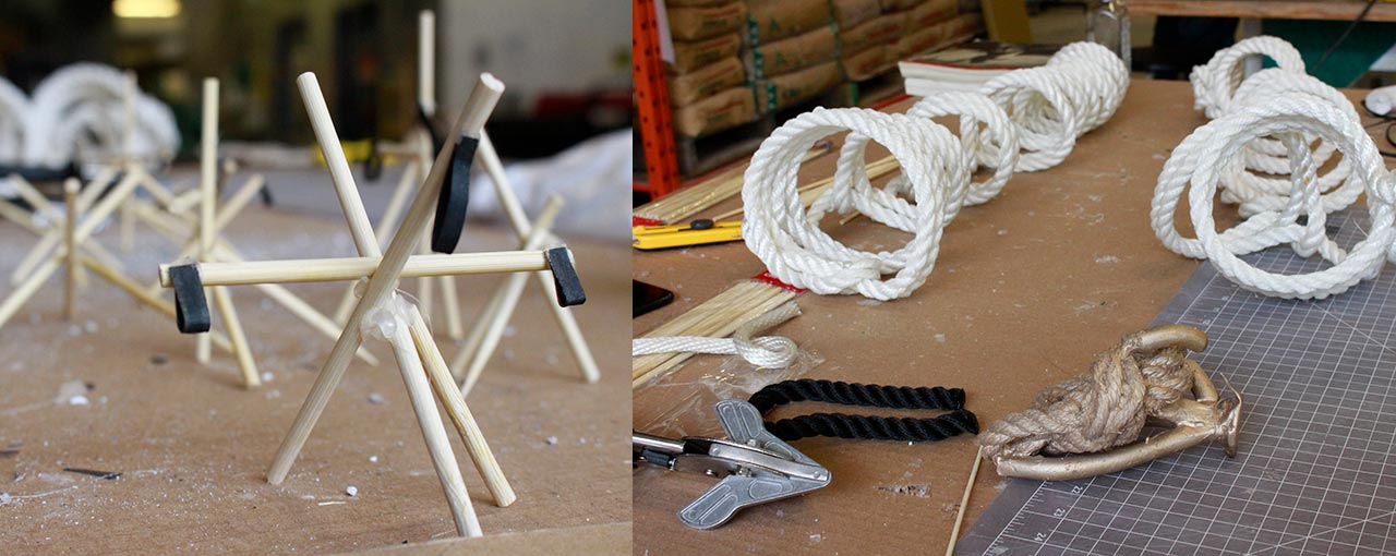Small scale art projects featuring sticks and rope