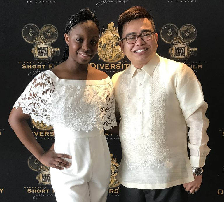 Professor Patrick Alcedo with 12-year-old Anah Ambuchi, director of Made in His Image, a powerful film about bullying. Ambuchi received the inaugural Rising Star Award