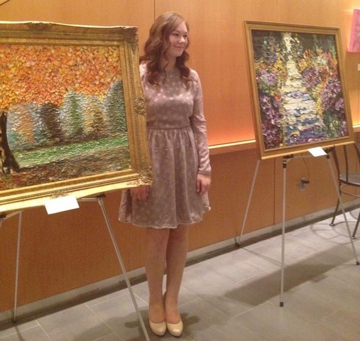 Christina at an exhibition of her art at the Richmond Hill Centre for the Performing Arts