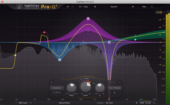 Screenshot of FabFilter Pro Q 3 in action. Audio waveforms are manipulated on a screen with click and drag functions.