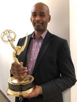 "Ray Williams holds his Emmy award. On the base of the statue are the words ""Academy of Telivision Arts & Sciences"" 2019 Primetime Emmy Awards Oustanding Achievement in Engineering Development FabFilter Pro-Q3"""