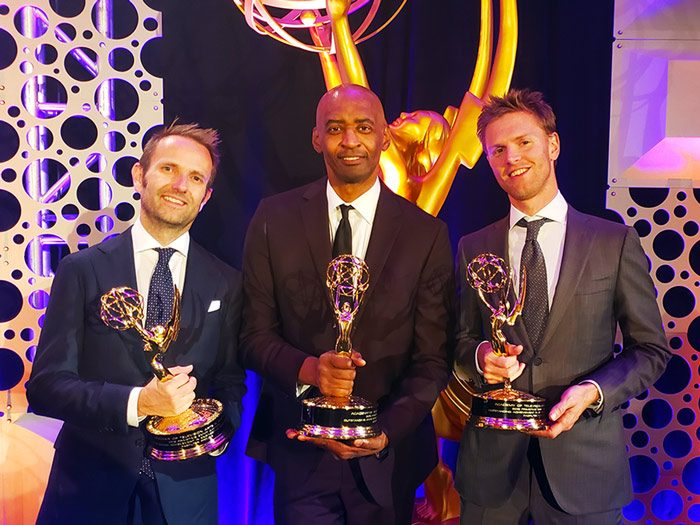 Ray Williams and the FabFilter team pose with their Emmy Award