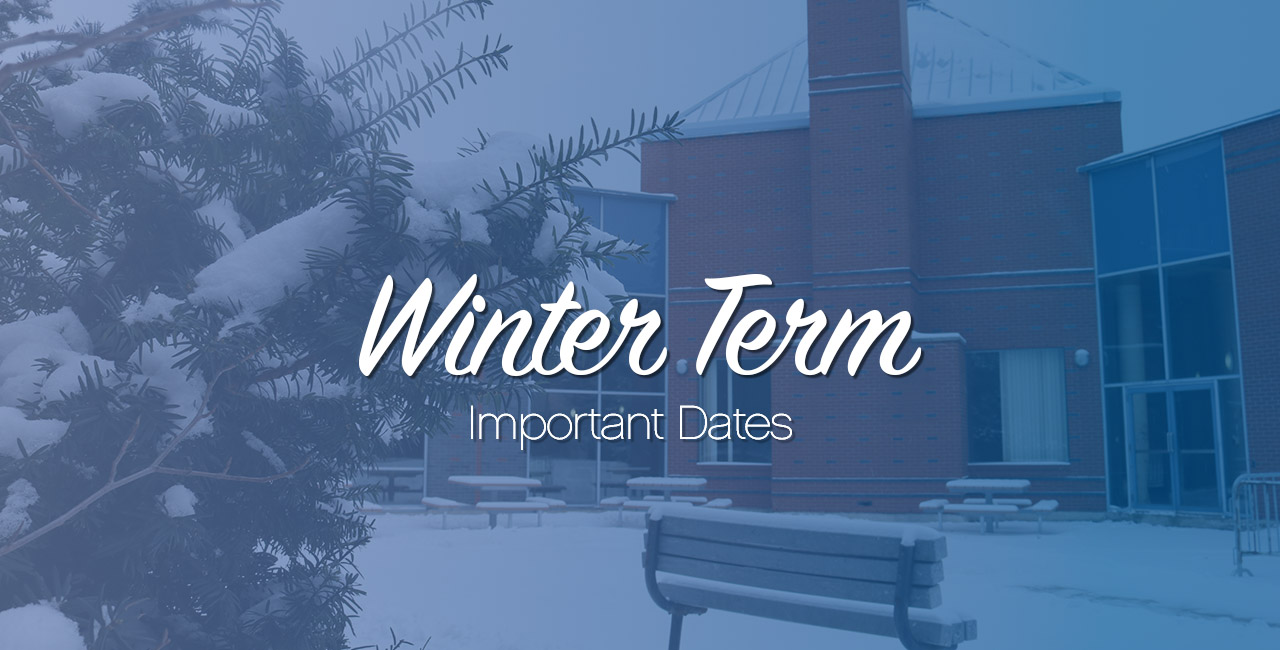 Title: Winter term important dates. Photo of snow covered courtyard outside centre for film and theatre.