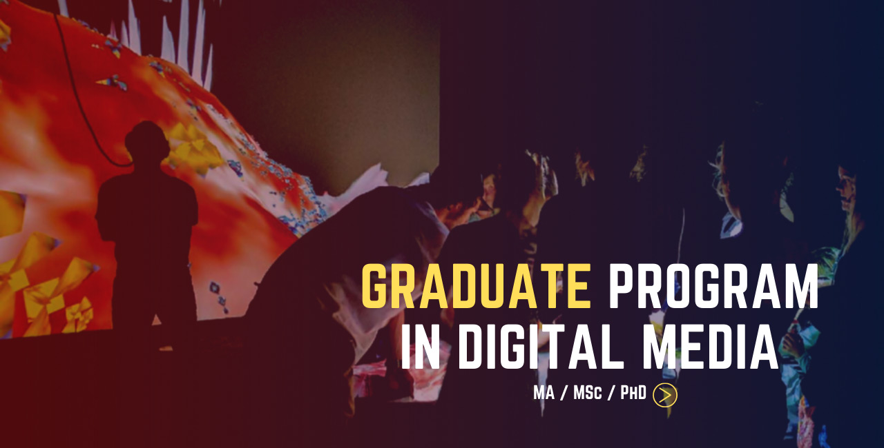 Graduate Program in Digital Media. A group of grad students gather around a laptop, in the background is a projector screen and a student wearing a VR headset.