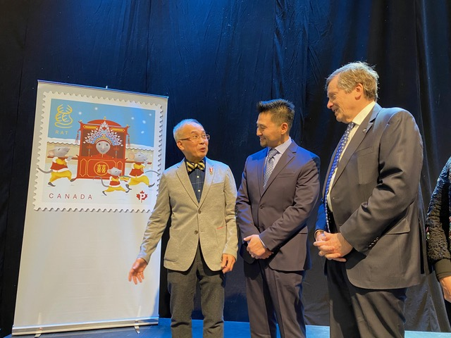 Prof. Albert Ng presents his design for the 2020 Lunar New Year postal stamp