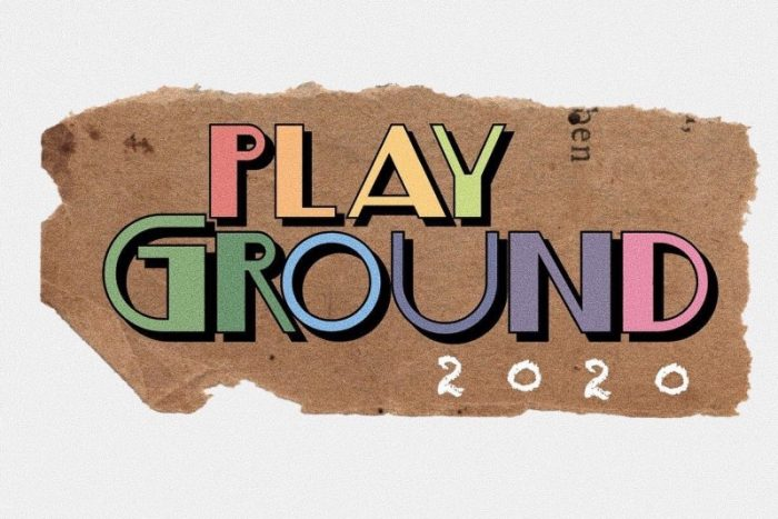 PlayGround 2020 wordmark. Colourful pastel letters on a brown backdrop.
