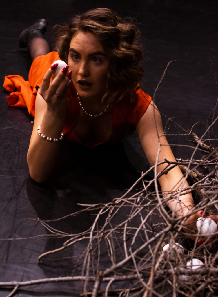 A woman in a red dress lies on her stomach infront of a fallen bird nest, she holds an egg