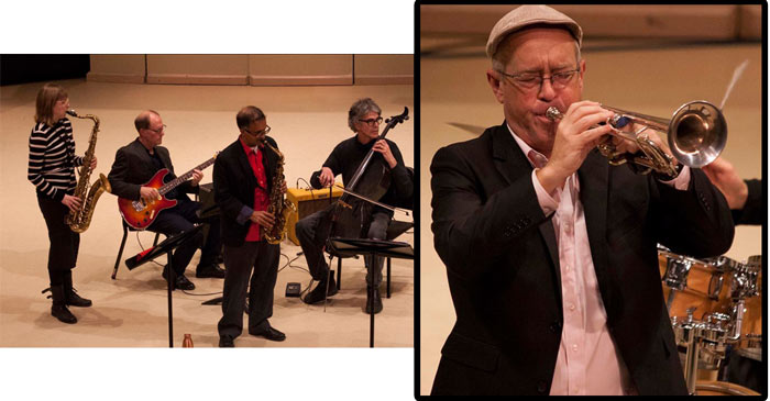 Dave Douglas plays trumpet with York U faculty members.