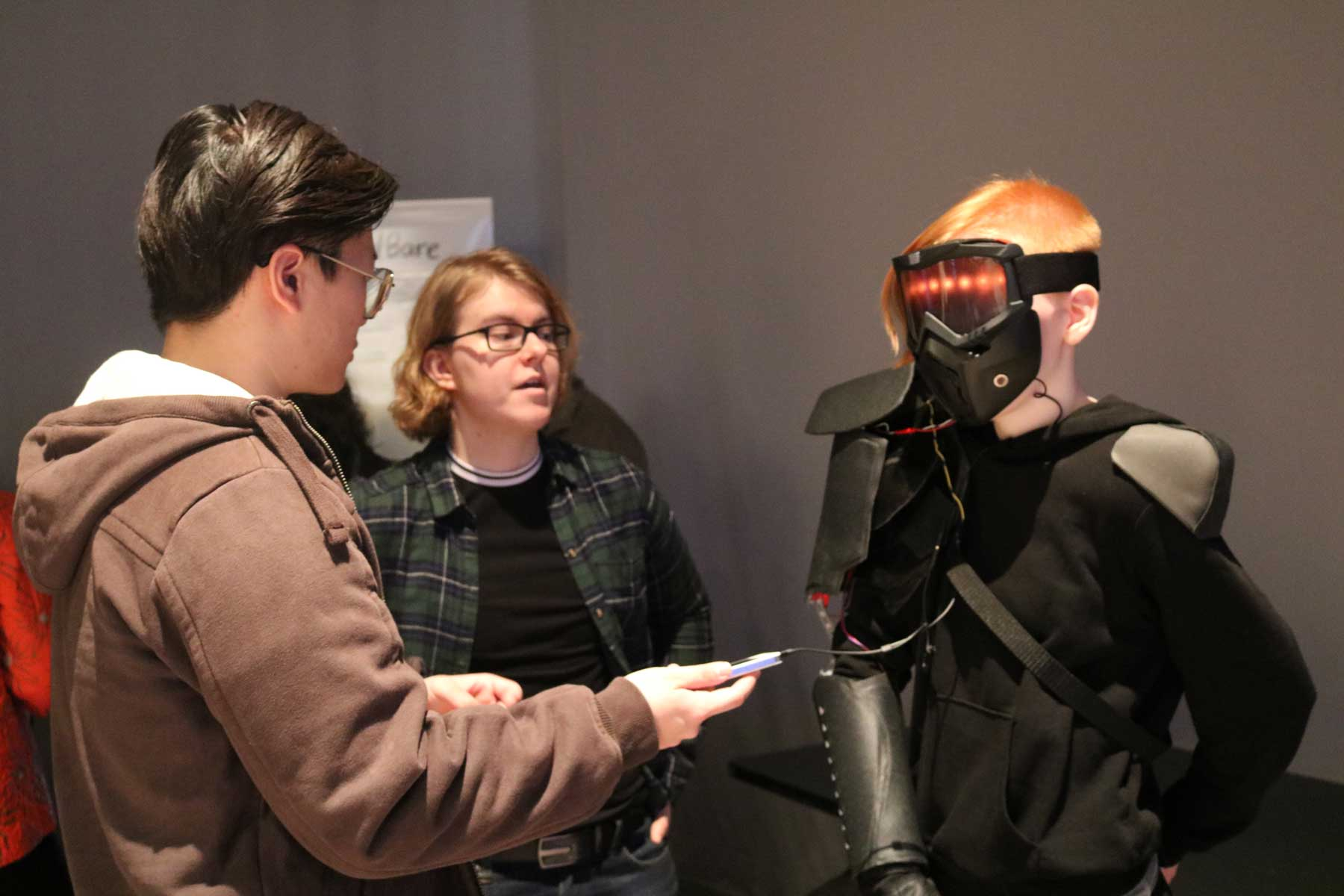 Students interacting with VR