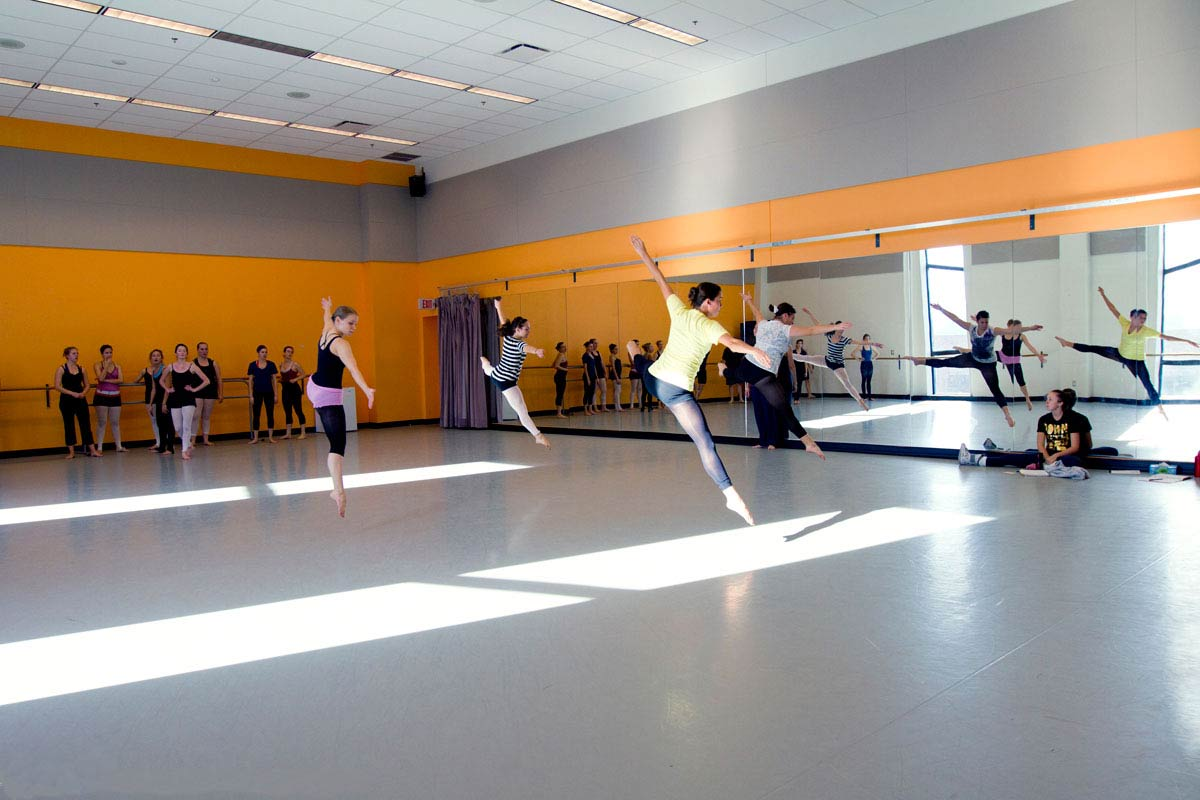 Students rehearsing in the classrom