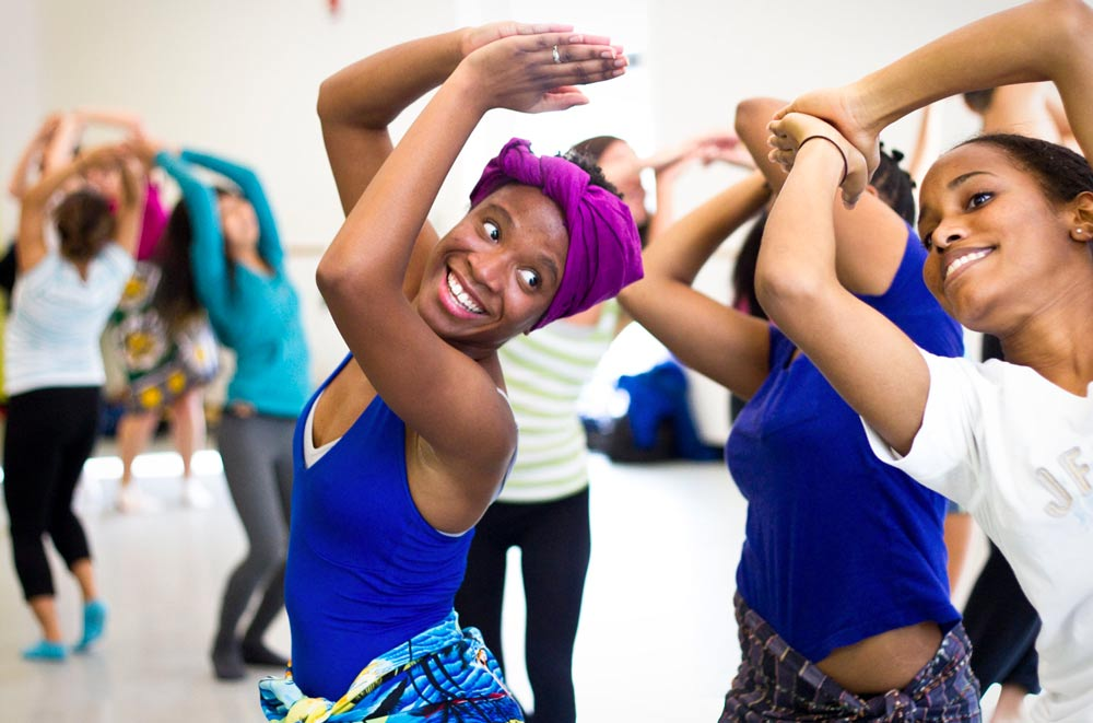Dance students rehearsing in class