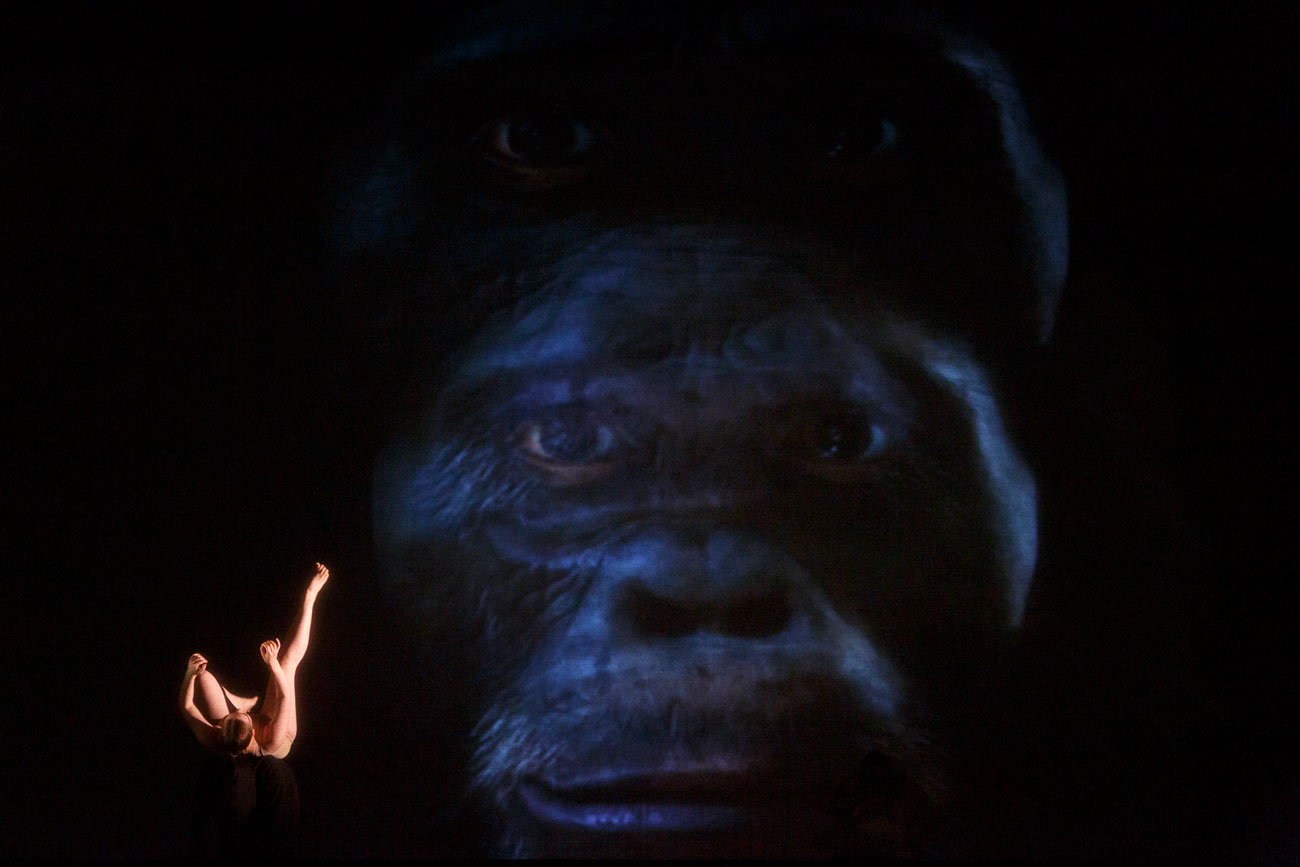 A dancer dances in front of a gorilla projection IM•MORTAL