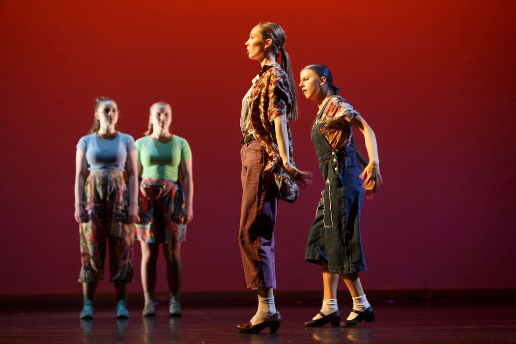 Two pairs of dancers appear on stage in Pina Pt. 2
