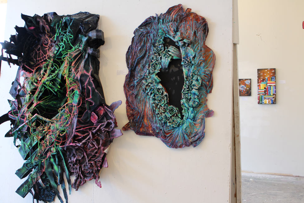 Student work hanging in gallery