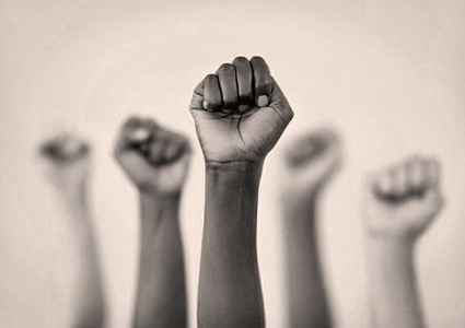 Five fists in the air.