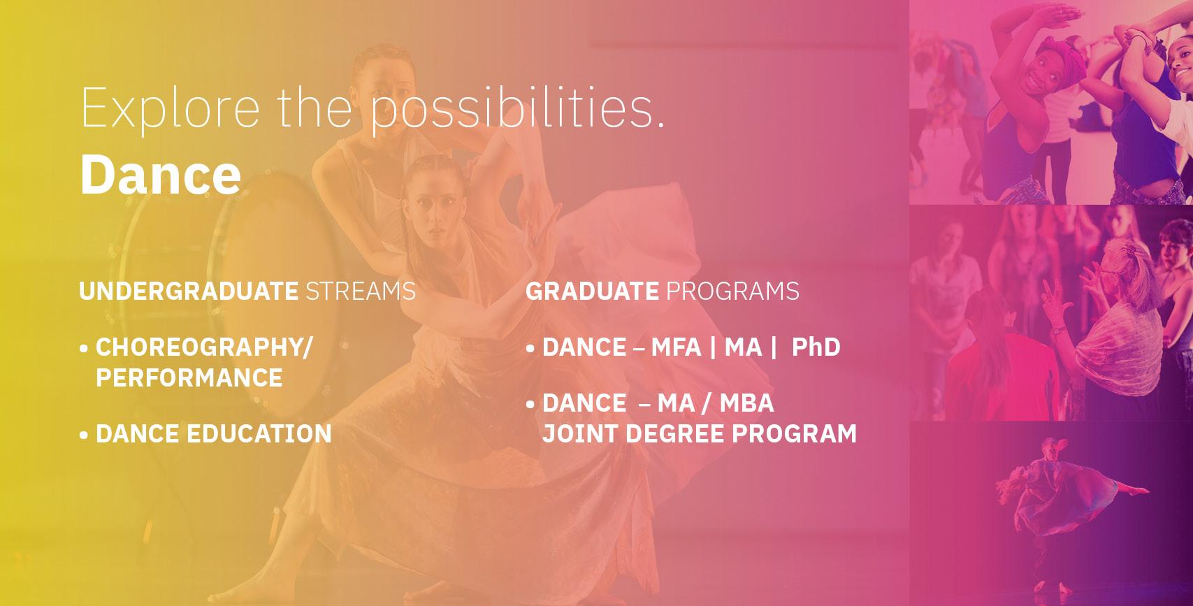 Dance Undergrad and Grad Info