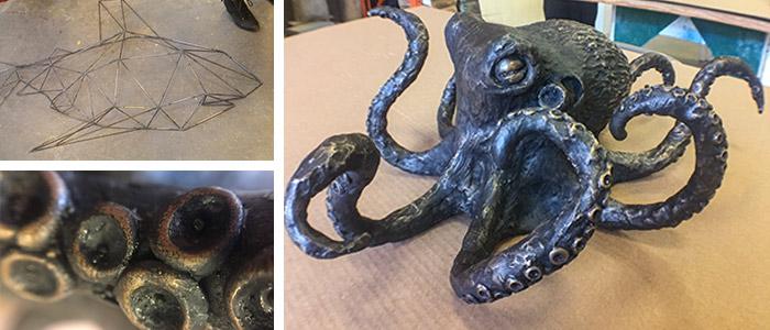 Top Left: Moses Viveiros' Geometric Shark | Right: Moses Viveiros' 40lb Bronze Octopus | Bottom Left: Detail of 40lb Bronze Octopus.