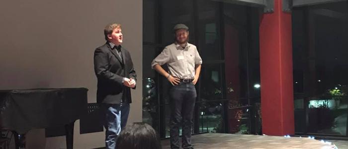 Garrett Ryan (Right) with fellow 4th year playwright Connor Williamson