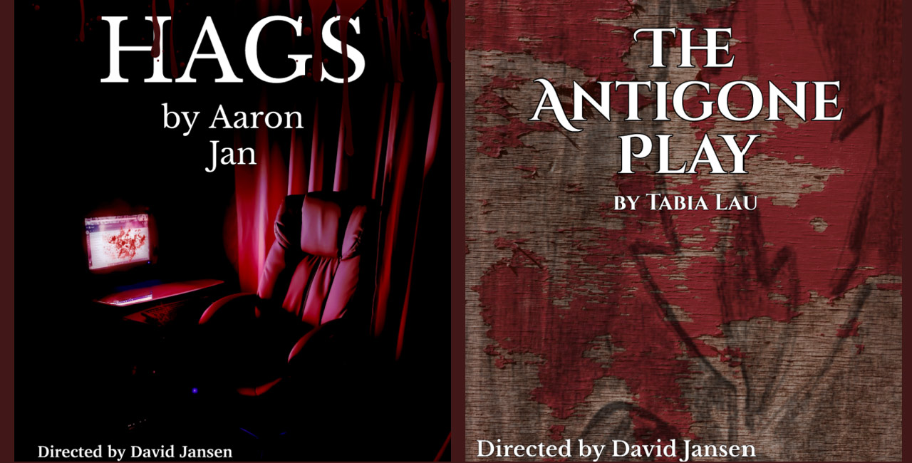 Posters for HAGS and The Antigone Play. HAGS has an empty chair by a computer. Antigone is charcoal grafiti on a paint-stripped wall
