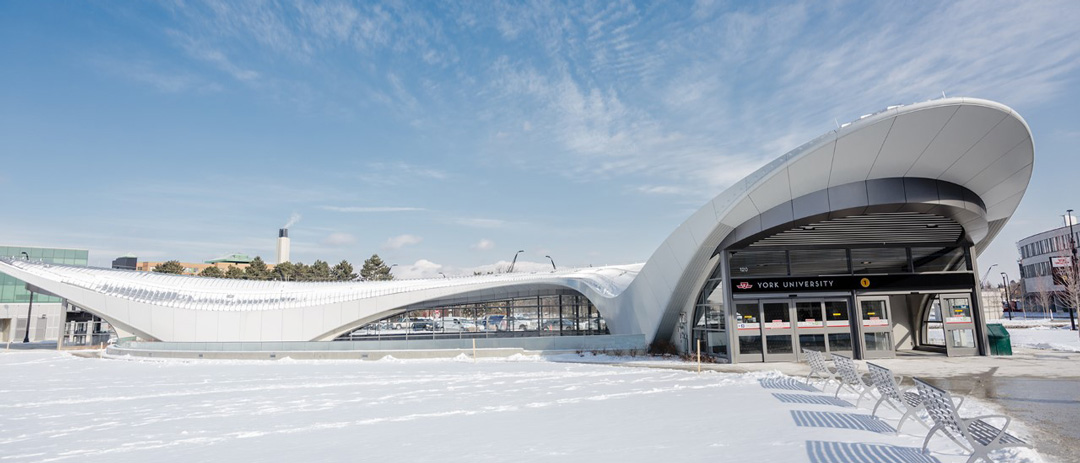 York University's subway station in the winter, covered with snow.