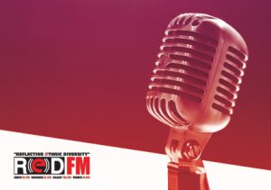Radio microphone with the RED FM logo