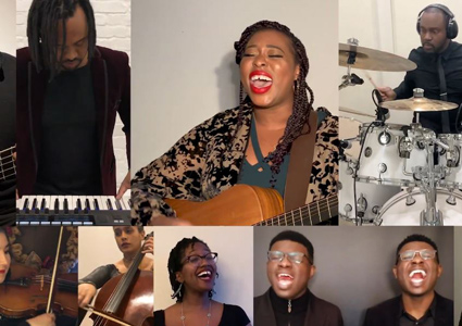 Temeka Williams sings centre surrounded by accompanying musicians
