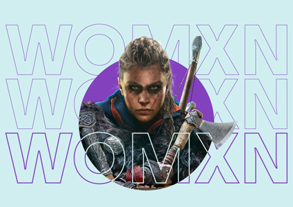 "Text ""Womxn"" over a female video game character who wears facepaint and holds an axe"