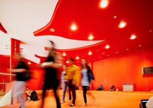 Students walk through the CIBC Red Lobby