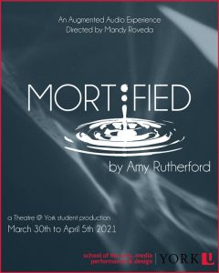 A drop of water spashing theatre at york presents mortified by amy rutherford