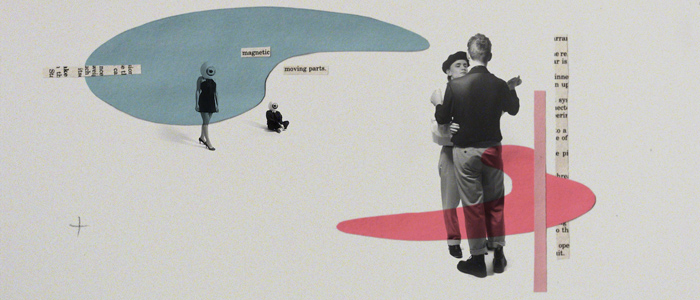 two men slow dance surrounded by a collage of paper shapes