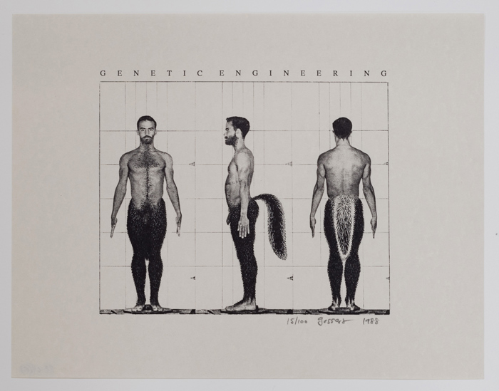 A male Satyr poses in 3 angles